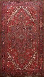 Red Vintage Geometric Traditional Area Rug Hand-knotted Oriental Carpet 10x13 Ft