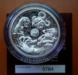 Tuvalu 2015 Ancient Chinese Mythical Creatures Dragon Tiger 5 Oz Silver Proof