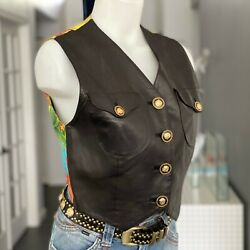 Gianni Versace Leather And Silk Vest Miami And Flags Print Size It 42 From Ss 1993