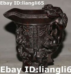 Antique China Ox Horn Palace Dragon Pixiu Beast Zun Cup Winecup Wineglass Goblet