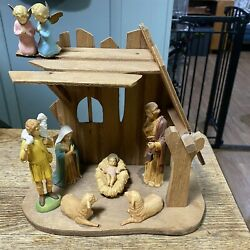 Vintage Nativity Creche Manger Stable Mid Century Wood Rustic With Figures Angel