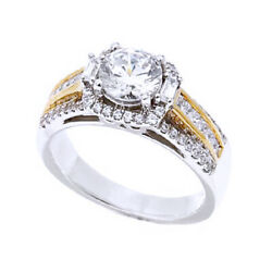 1.88 Ct Round Simulated Multicut Wide Band 2-tone 14k Solid Gold Ring