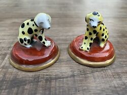 Small Pair Antique 19th Century English Porcelain Dogs Dalmatian Chelsea Spotted