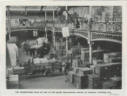 1915 Ww1 Small Print - Despatch Room Of Government Stores Of Soldiers Clothing