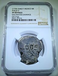 Ngc 1730-3 Shipwreck Mexico Silver 8 Reales 1700s Spanish Dollar Pirate Cob Coin