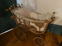 Antique Late 1800's Early 1900's Baby Carriage Doll Stroller Wicker Rare