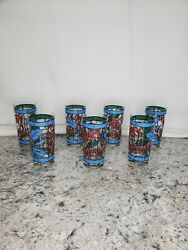Vtg Set Of 7 Cera Houze Water Glasses Tall Tumblers 5.5 Tall