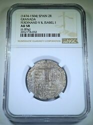 Ngc Au58 1400s-1500s Ferdinand Isabella 2 Reales Au Spanish Silver Columbus Coin
