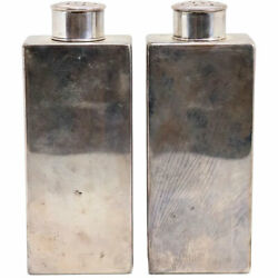 Antique Pair American And Co. Sterling Silver Talc Vanity Bottles C. 1900