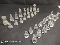 Old Vintage Rare Handmade Elegant Crystal Glass Chess Pieces, Collectible