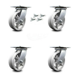 6 Inch V Groove Semi Steel Caster Set With Roller Bearings And Swivel Locks Scc