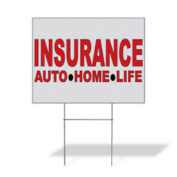 Weatherproof Yard Sign Insurance Auto Home Life Red Lawn Garden