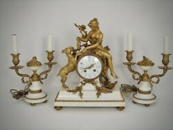 Antique 3 Piece French Dore Bronze Marble Clock Garniture Girl Grapes Goat