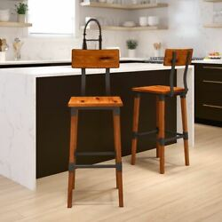 Durable 2 Pack Rustic Antique Walnut Industrial Wood Dining Barstool