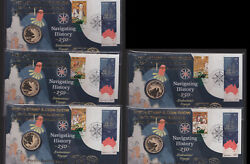 2020 Australia Perth Stamp Coin Show - Pnc Navigating History Diff 5c Stamp Set