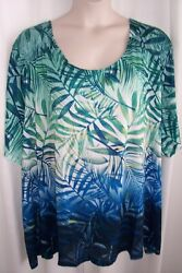 Catherines Plus 1x Green Blue Ombre Palm Print Embellished Knit Top Tunic New