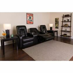 Eclipse Series 3-seat Reclining Black Leathersoft Theater Seating Unit W/cup Hol