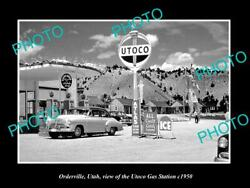 Old Postcard Size Photo Of Orderville Utah The Utoco Gas Station C1950