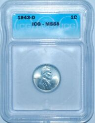 1943 D Icg Ms68 Lincoln Wheat Steel Cent