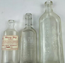 Lot Of Three Vintage Glass Medical Bottles Dr Miles Sayman Sheep Dip Apothecary