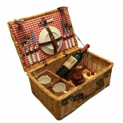 Rattan Picnic Basket With Dishes Fork Knives Set Durable And Strong Round Wicker