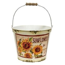 New Shabby Farmhouse Chic Rustic Distressed Aged Sunflower Bucket Pail Pot 8