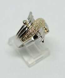 18k Yellow Gold And Platinum Swan Wings Natural Diamond Ring Size 7 Msrp 3200