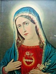 Very Old Immaculate Heart Of Mary Litho Print Holy Mother Sacred Heart