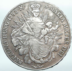 1782 Hungary Maria Theresia Madonna And Child Antique Old Silver Taler Coin I88132