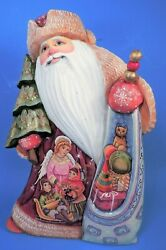 Carved Wood Russian Santa / Father Christmas 10.5 Intricate