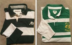 Menand039s Aeropostale And American Eagle Rugby Stripes Long Sleeve Shirts Sz L Green