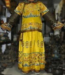 Chinese Silk Gold Line Hand Embroidery Qing Dynasty Emperor Dragon Robes Clothes