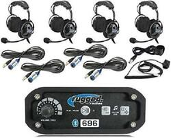 Rugged Radios Rrp696 Black Out Series Intercom 4 Place Kit With Over The Head He