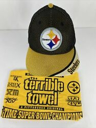Lot Pittsburgh Steelers Terrible Towel/vintage Hat 5 Time Super Bowl Champions