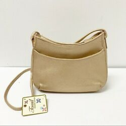 Fossil Gold Metallic Leather Crossbody small Bags $74.00