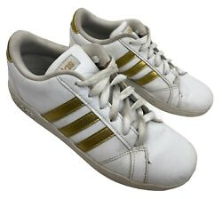 Adidas Ladies Tennis Shoe Size 4.5 White With Gold Trim Cloudfoam Leather