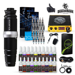 Dragonhawk Motor Rotary Pen Tattoo Machine Tattoo Set Kit Power Supply Needles G