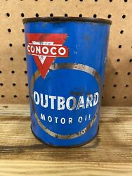 Vintage Blue Conoco Outboard Motor Oil Can One Quart