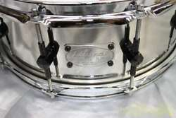Used Kitano Stainless Shell Sus Snare Drum Silver Color With Soft Case