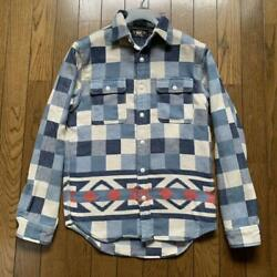 Used Rrl Native Pattern Block Check Flannel Shirt Mens Xs Size