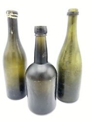 Fun Vintage Antique 1800andrsquos Sea Ocean Washed Green Glass Beer Bottles