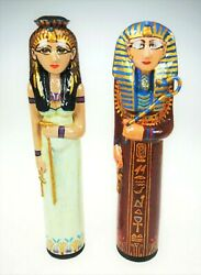 2 Egyptain Figurines Painted Wood Ancient Egyptian Gods King Queen Cleopatra