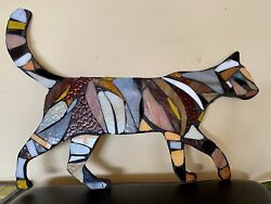 Cat Stained Glass Mosaic Wall Sculpture Farm Country Ooak