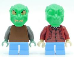2 X Lego Minifigure Green Goblin Heads Gold Eyes Authentic