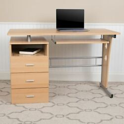 Durable Maple Desk W/three Drawer Pedestal And Pull-out Keyboard Tray