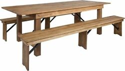 Moderhercules Series 8and039 X 40and039and039 Antique Rustic Folding Farm Table And Two Bench Set