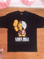 A Bathing Ape X Kaws Collaboration T-shirt Size M Black Mens From Japan Unused