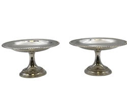 Pair Of International Sterling Silver Compotes With Gadrooned Pattern