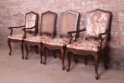 Baker Furniture French Provincial Louis Xv Carved Walnut Dining Chairs, Set Of F