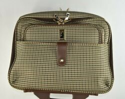 Nwt London Fog Houndstooth Canvas And Leather W/ Wheels And Handle Suitcase Bag